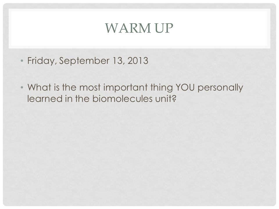 WARM UP Friday, September 13, 2013 What is the most important thing YOU personally learned in the biomolecules unit