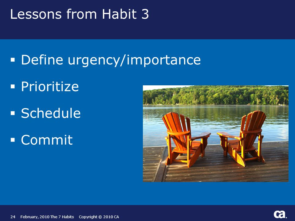 ® Lessons from Habit 3  Define urgency/importance  Prioritize  Schedule  Commit 24February, 2010 The 7 Habits Copyright © 2010 CA