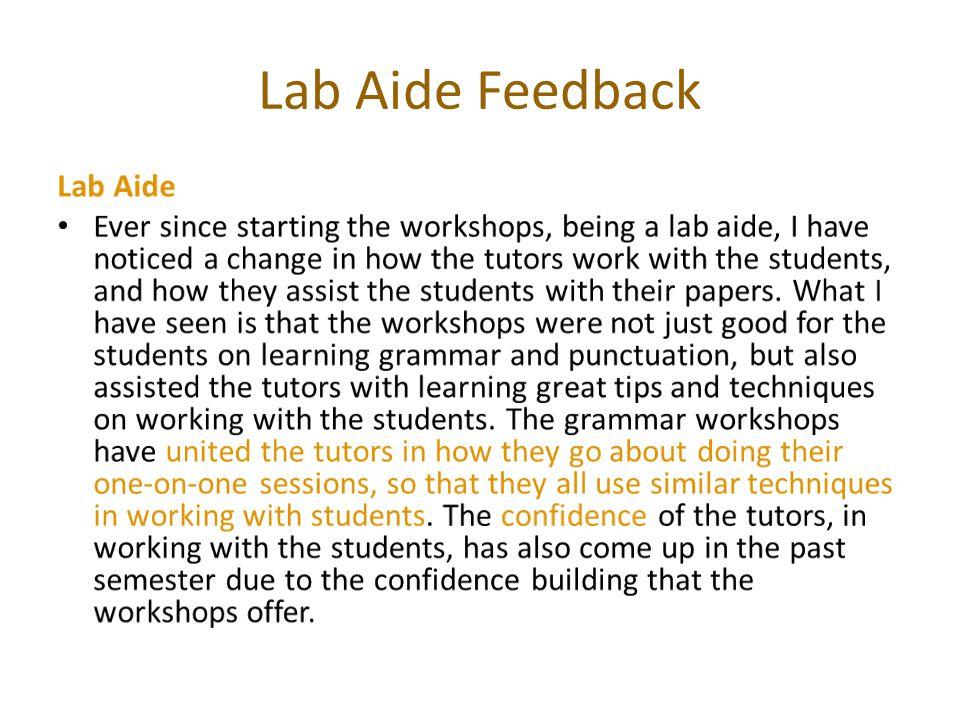 Lab Aide Feedback