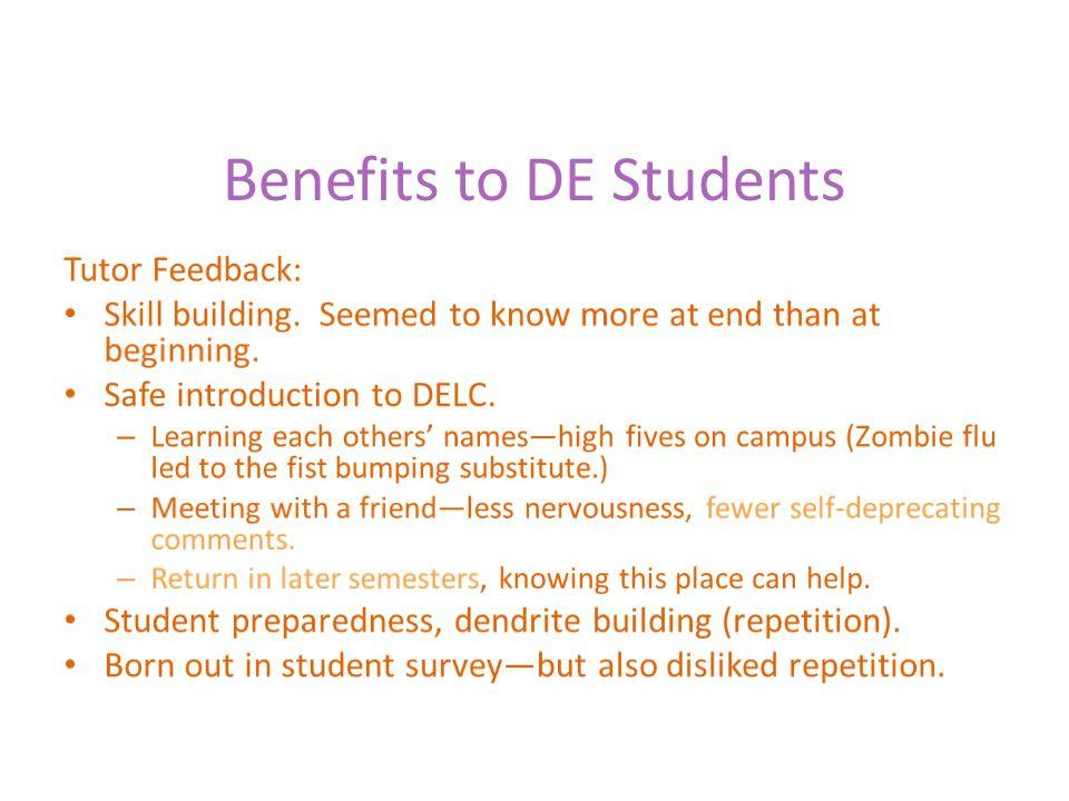 Benefits to DE Students