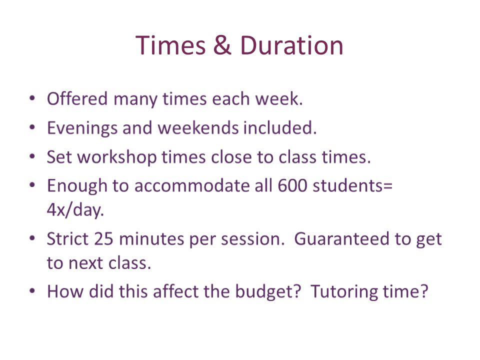 Times & Duration