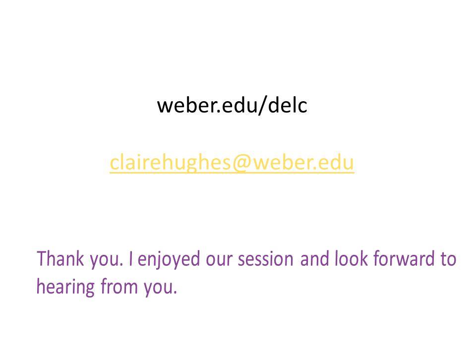 weber.edu/delc clairehughes@weber.edu clairehughes@weber.edu