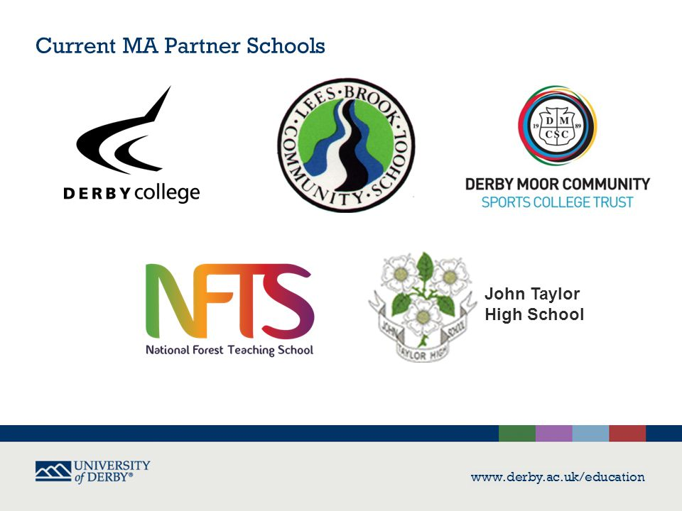 Current MA Partner Schools www.derby.ac.uk/education John Taylor High School