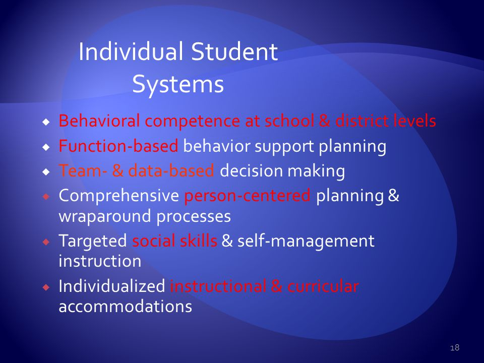 Nonclassroom Setting Systems Classroom Setting Systems Individual Student Systems School-wide Systems School-wide Positive Behavior Support Systems 17
