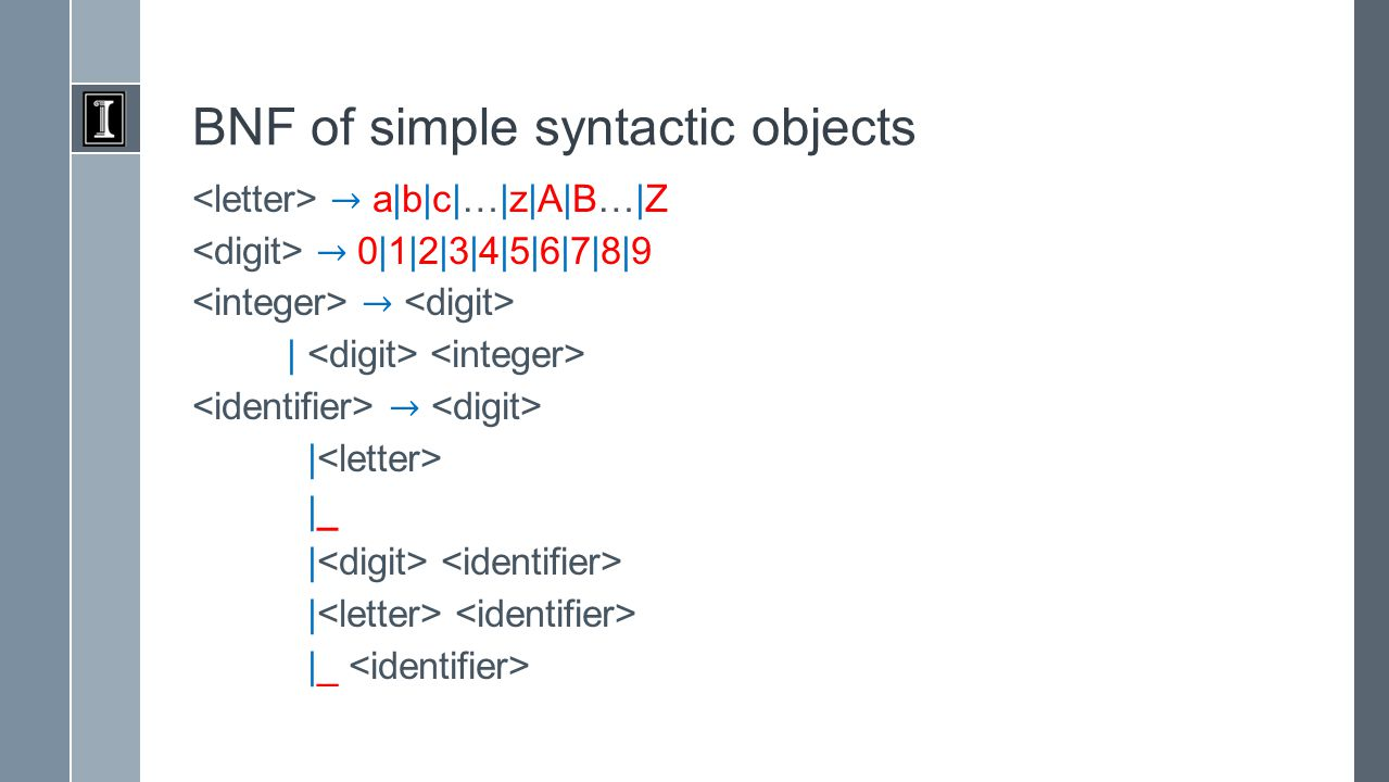 BNF of simple syntactic objects