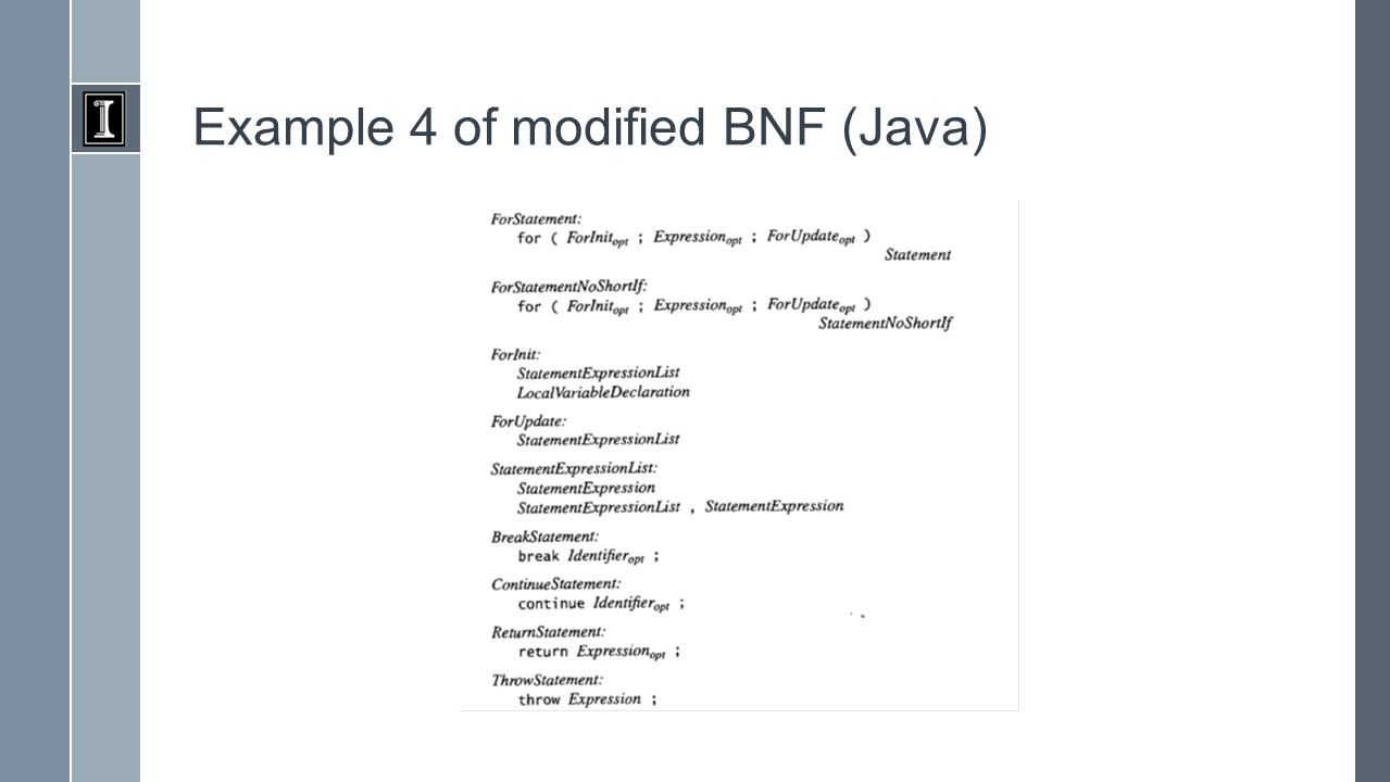 Example 4 of modified BNF (Java)