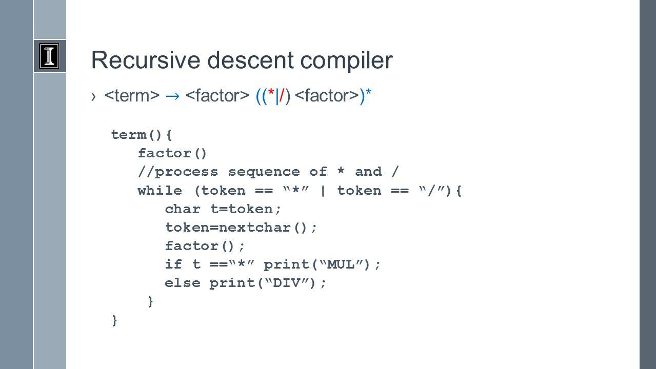 Recursive descent compiler