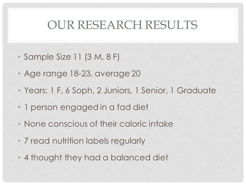 OUR RESEARCH RESULTS Sample Size 11 (3 M, 8 F) Age range 18-23, average 20 Years: 1 F, 6 Soph, 2 Juniors, 1 Senior, 1 Graduate 1 person engaged in a fad diet None conscious of their caloric intake 7 read nutrition labels regularly 4 thought they had a balanced diet