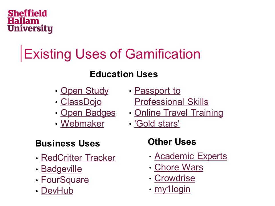 Existing Uses of Gamification Education Uses Open Study ClassDojo Open Badges Webmaker Business Uses Passport to Professional Skills Passport to Professional Skills Online Travel Training Gold stars Other Uses Academic Experts Chore Wars Crowdrise my1login RedCritter Tracker Badgeville FourSquare DevHub