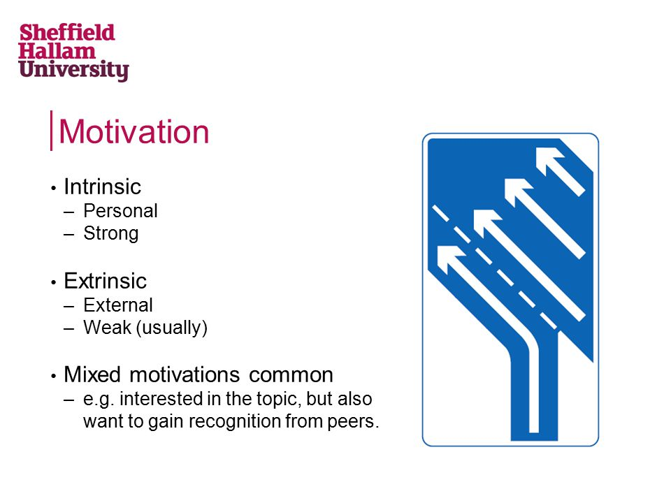 Motivation Intrinsic –Personal –Strong Extrinsic –External –Weak (usually) Mixed motivations common –e.g. interested in the topic, but also want to ga