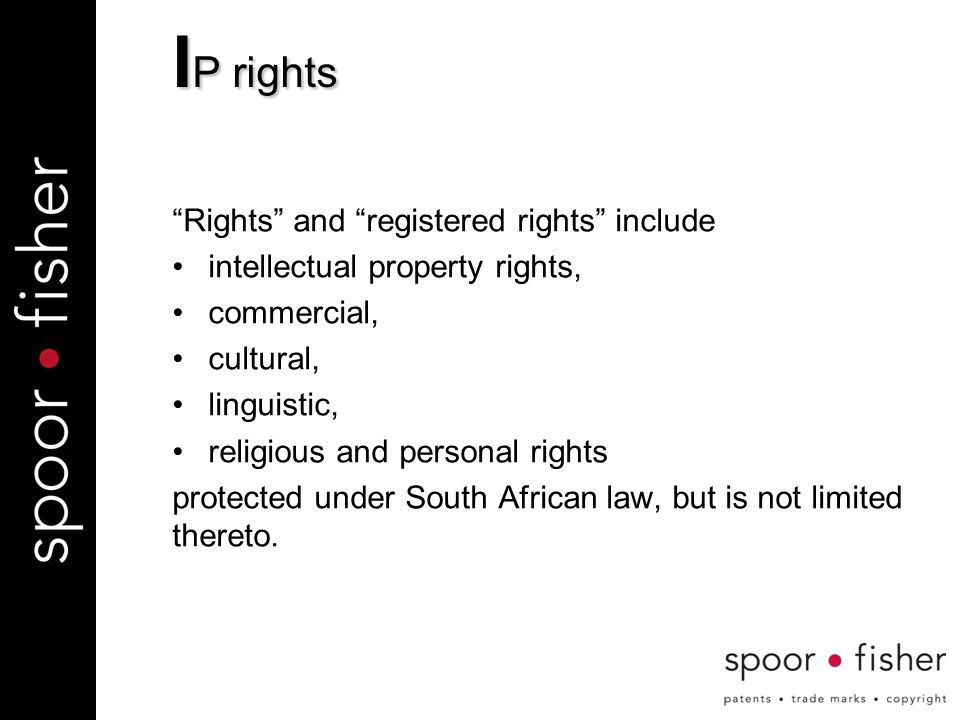 Rights and registered rights include intellectual property rights, commercial, cultural, linguistic, religious and personal rights protected under South African law, but is not limited thereto.