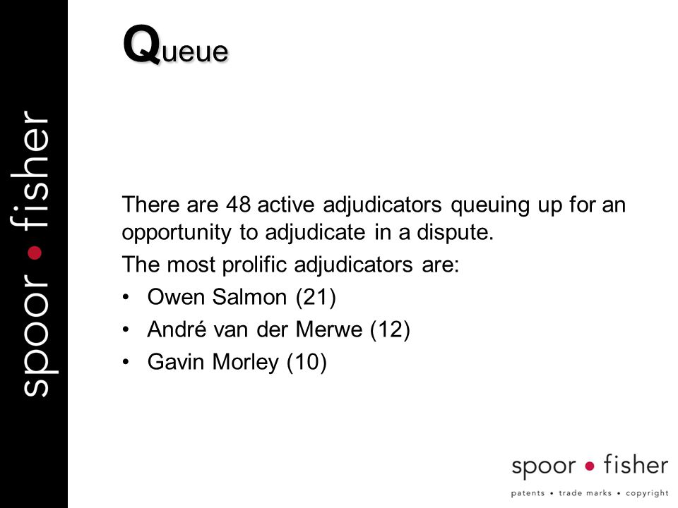 There are 48 active adjudicators queuing up for an opportunity to adjudicate in a dispute.