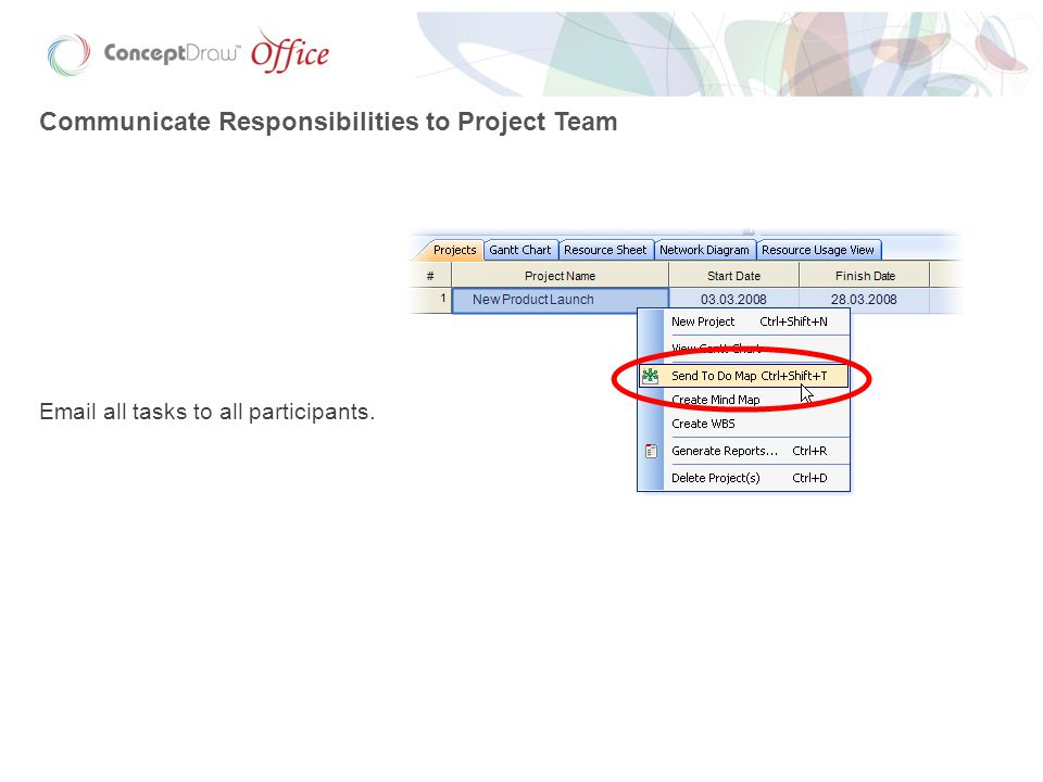 Communicate Responsibilities to Project Team Email all tasks to all participants.