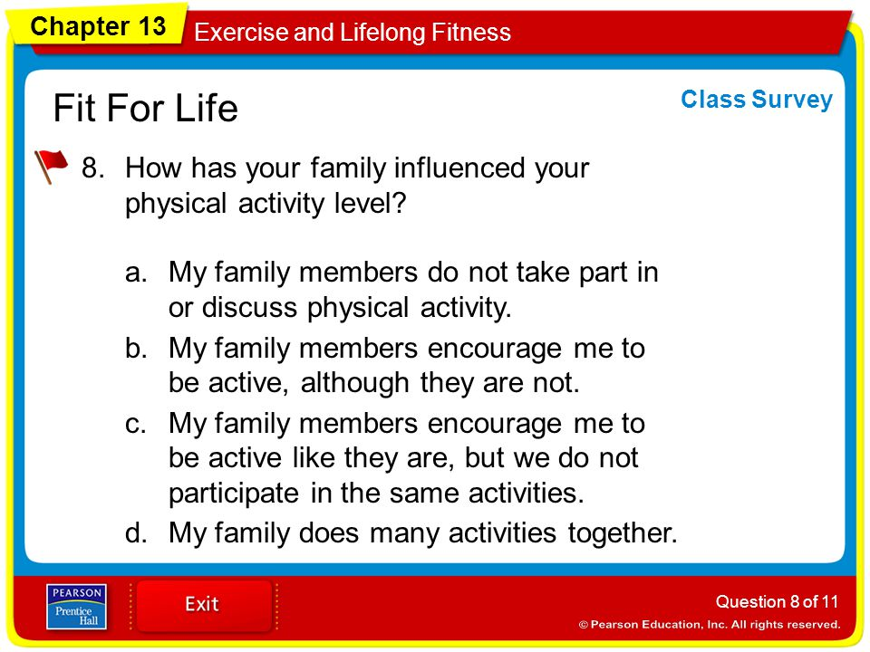 Chapter 13 Exercise and Lifelong Fitness Fit For Life 8.How has your family influenced your physical activity level.