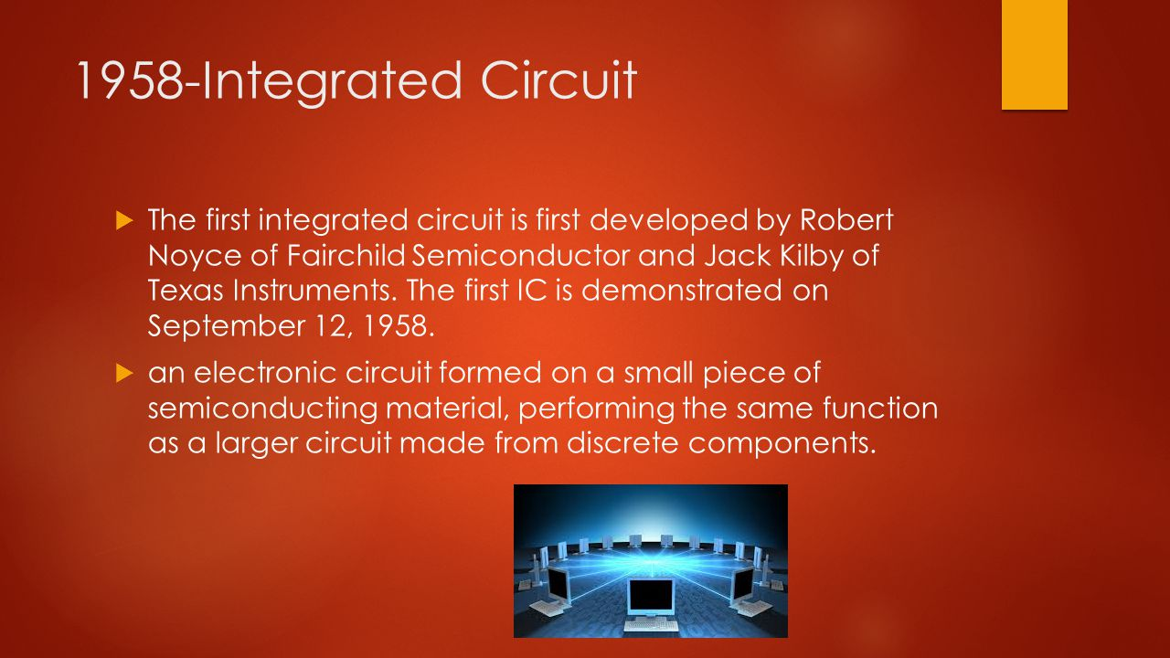 1958-Integrated Circuit  The first integrated circuit is first developed by Robert Noyce of Fairchild Semiconductor and Jack Kilby of Texas Instruments.