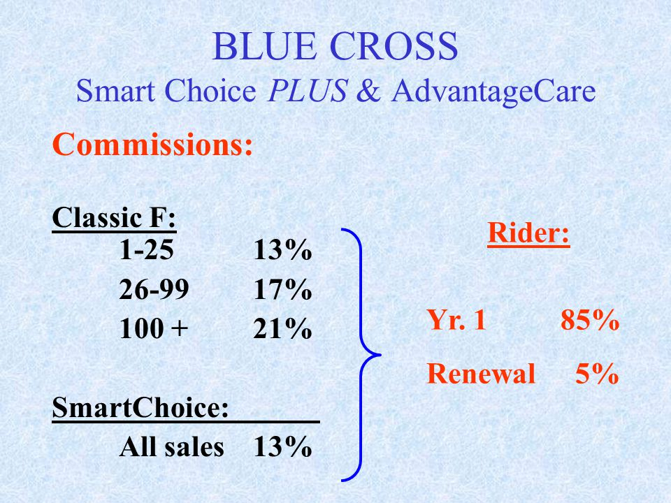 Commissions: Classic F: 1-2513% 26-9917% 100 +21% SmartChoice: All sales13% Rider: Yr. 185% Renewal 5% BLUE CROSS Smart Choice PLUS & AdvantageCare