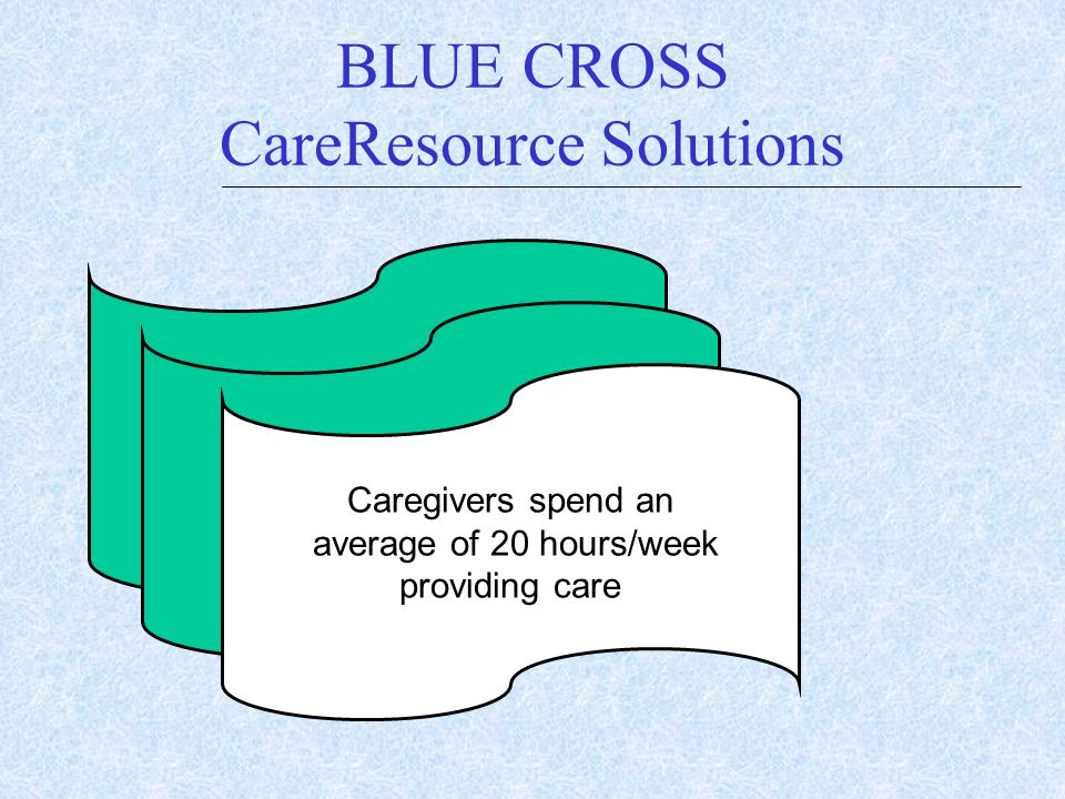 BLUE CROSS CareResource Solutions $ $ Caregivers spend an average of 20 hours/week providing care