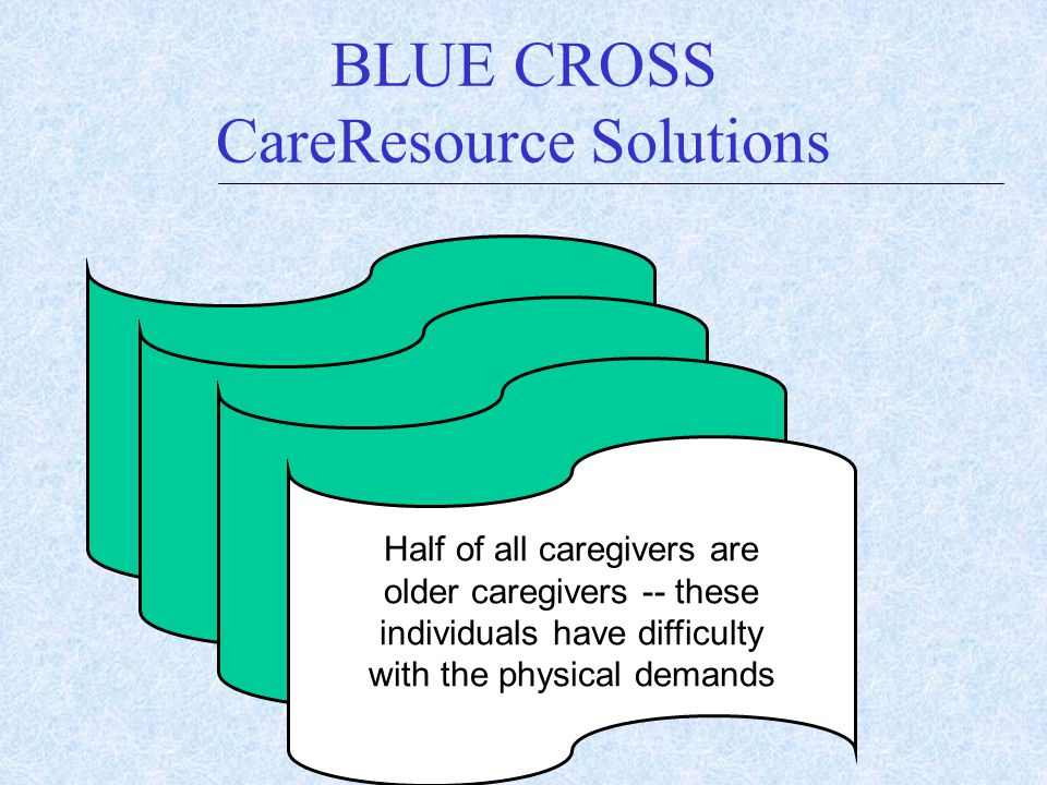 BLUE CROSS CareResource Solutions $ $ Half of all caregivers are older caregivers -- these individuals have difficulty with the physical demands