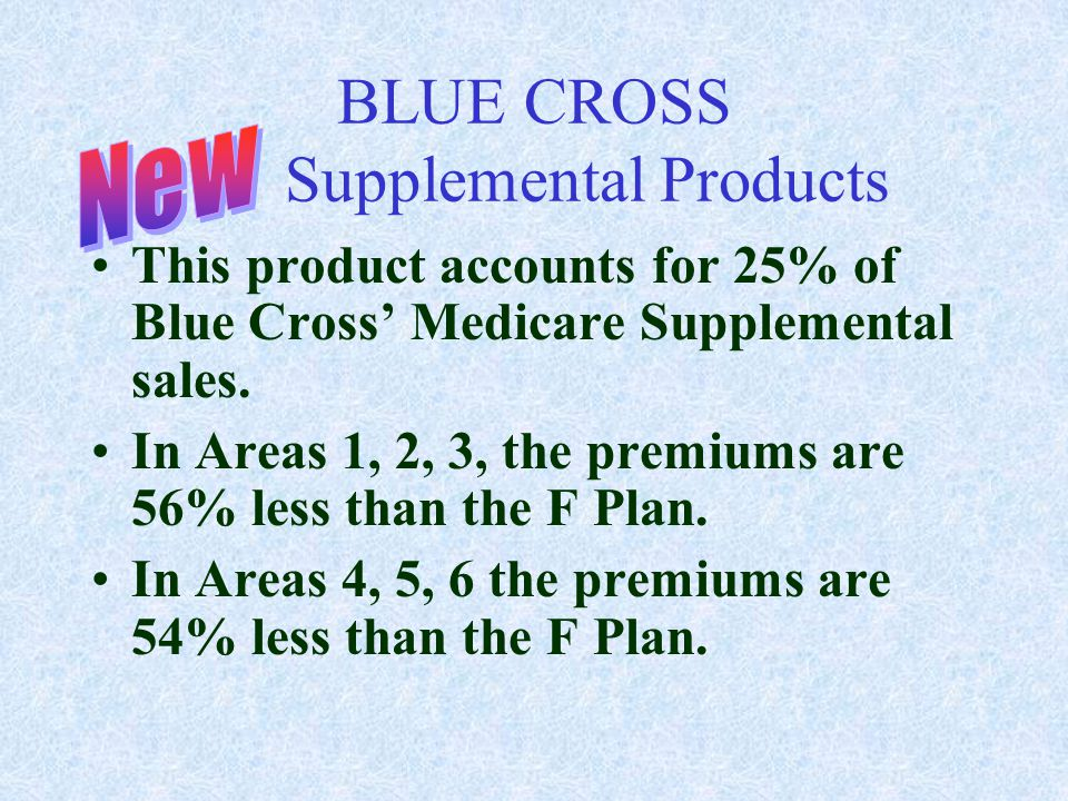 BLUE CROSS Supplemental Products This product accounts for 25% of Blue Cross' Medicare Supplemental sales. In Areas 1, 2, 3, the premiums are 56% less