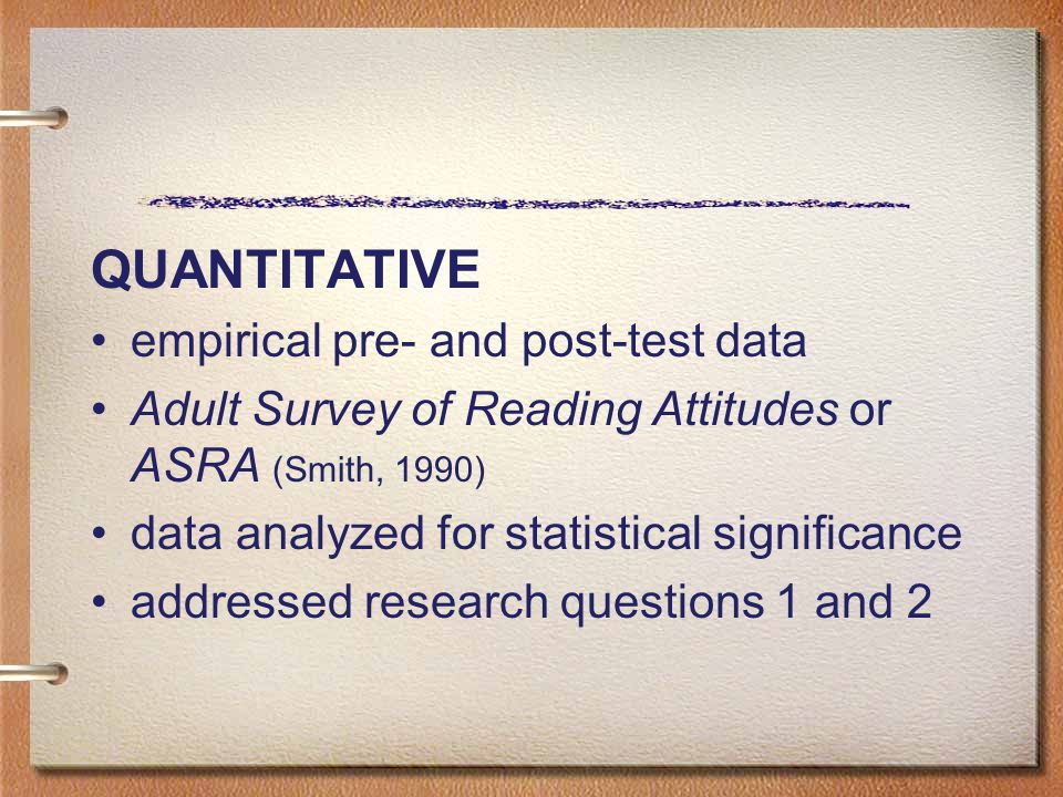 QUANTITATIVE empirical pre- and post-test data Adult Survey of Reading Attitudes or ASRA (Smith, 1990) data analyzed for statistical significance addr