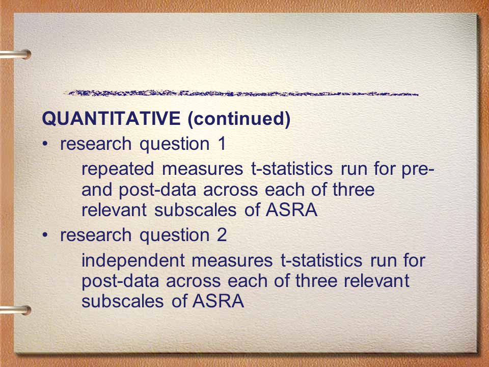 QUANTITATIVE (continued) research question 1 repeated measures t-statistics run for pre- and post-data across each of three relevant subscales of ASRA