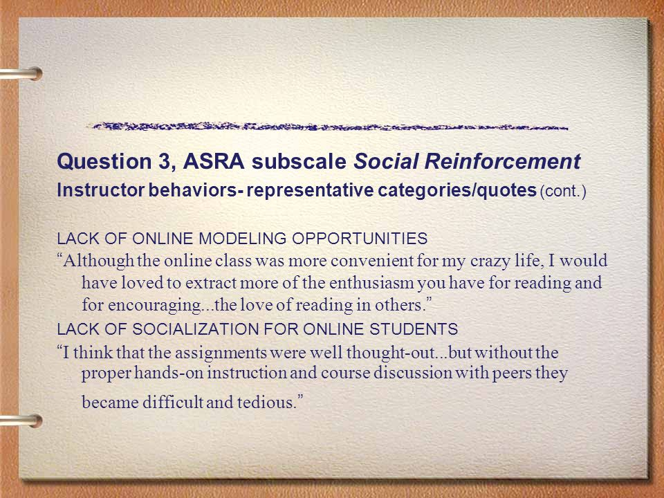Question 3, ASRA subscale Social Reinforcement Instructor behaviors- representative categories/quotes (cont.) LACK OF ONLINE MODELING OPPORTUNITIES ""