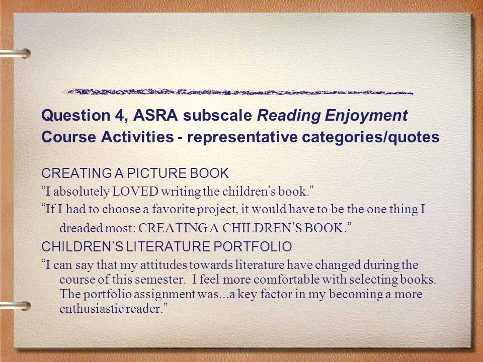 "Question 4, ASRA subscale Reading Enjoyment Course Activities - representative categories/quotes CREATING A PICTURE BOOK "" I absolutely LOVED writing"