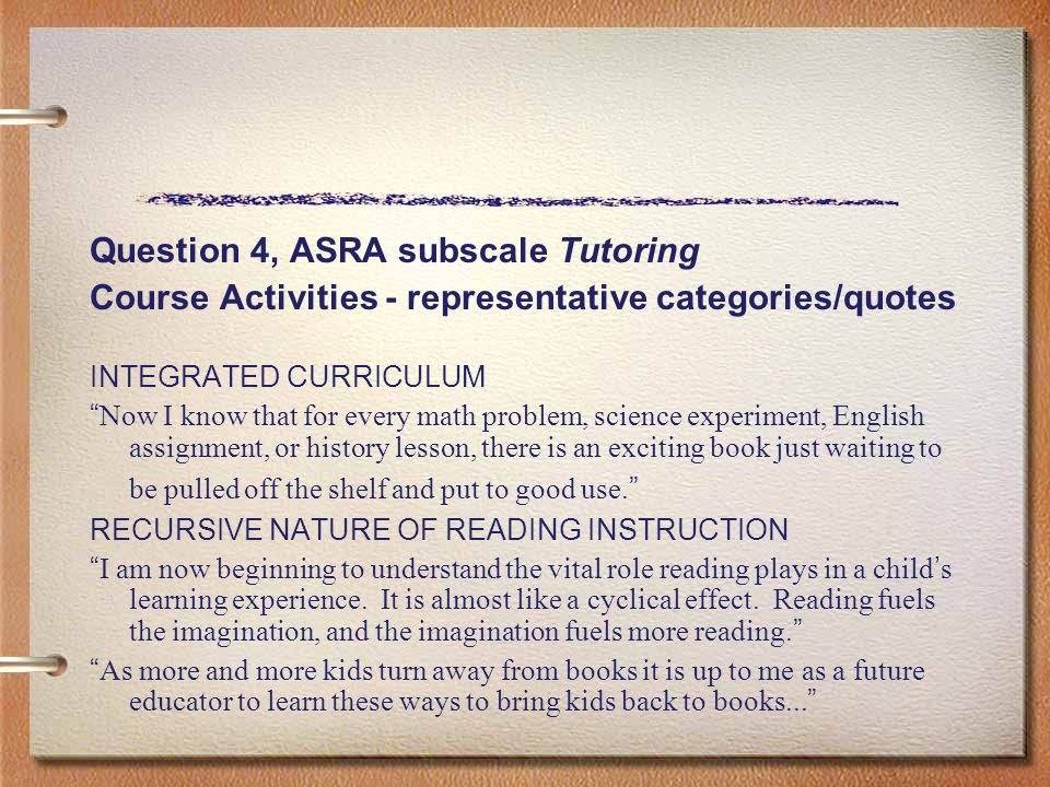"Question 4, ASRA subscale Tutoring Course Activities - representative categories/quotes INTEGRATED CURRICULUM "" Now I know that for every math problem"