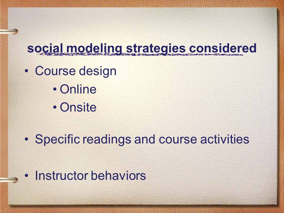 social modeling strategies considered Course design Online Onsite Specific readings and course activities Instructor behaviors