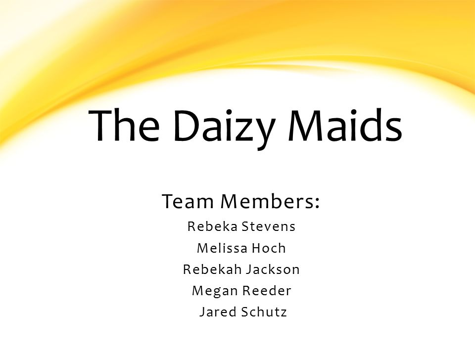 The Daizy Maids Team Members: Rebeka Stevens Melissa Hoch Rebekah Jackson Megan Reeder Jared Schutz