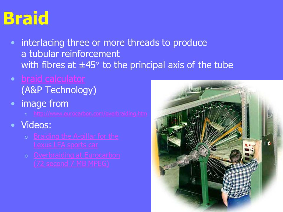 Braid interlacing three or more threads to produce a tubular reinforcement with fibres at ±45° to the principal axis of the tube braid calculator (A&P Technology)braid calculator image from o http://www.eurocarbon.com/overbraiding.htm http://www.eurocarbon.com/overbraiding.htm Videos: o Braiding the A-pillar for the Lexus LFA sports car Braiding the A-pillar for the Lexus LFA sports car o Overbraiding at Eurocarbon (72 second 7 MB MPEG) Overbraiding at Eurocarbon (72 second 7 MB MPEG)