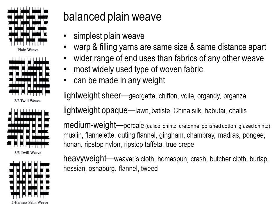 balanced plain weave simplest plain weave warp & filling yarns are same size & same distance apart wider range of end uses than fabrics of any other weave most widely used type of woven fabric can be made in any weight lightweight sheer— georgette, chiffon, voile, organdy, organza lightweight opaque— lawn, batiste, China silk, habutai, challis medium-weight— percale (calico, chintz, cretonne, polished cotton, glazed chintz) muslin, flannelette, outing flannel, gingham, chambray, madras, pongee, honan, ripstop nylon, ripstop taffeta, true crepe heavyweight— weaver's cloth, homespun, crash, butcher cloth, burlap, hessian, osnaburg, flannel, tweed