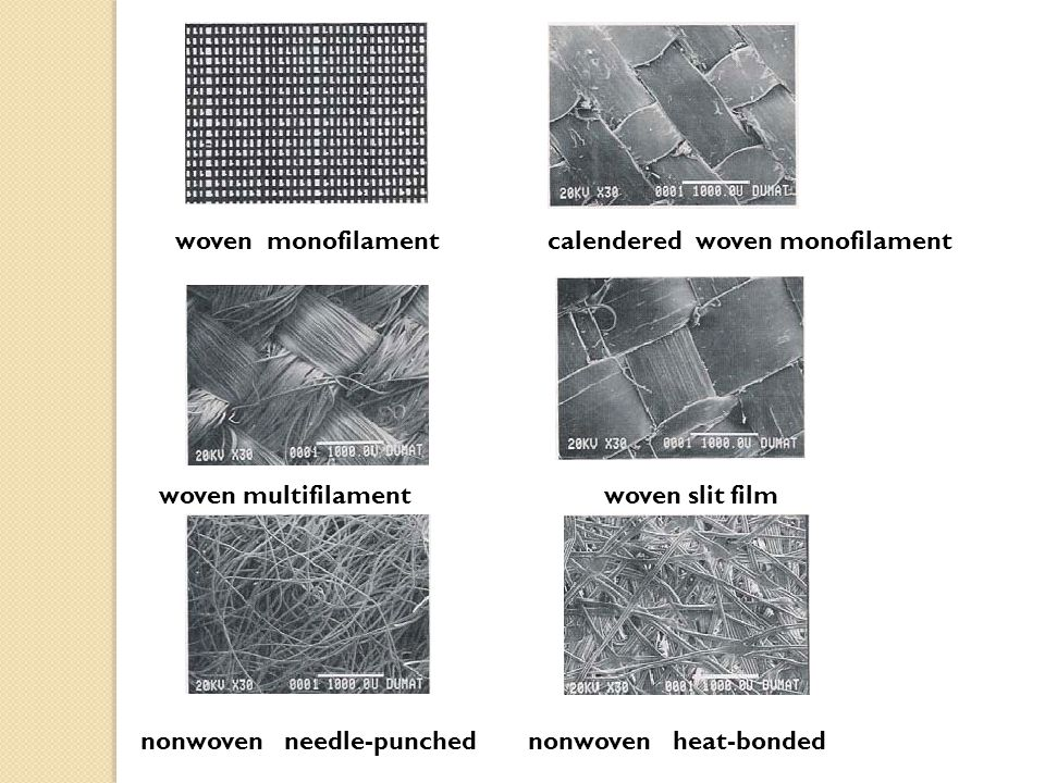 woven monofilament calendered woven monofilament nonwoven needle-punched nonwoven heat-bonded woven multifilament woven slit film