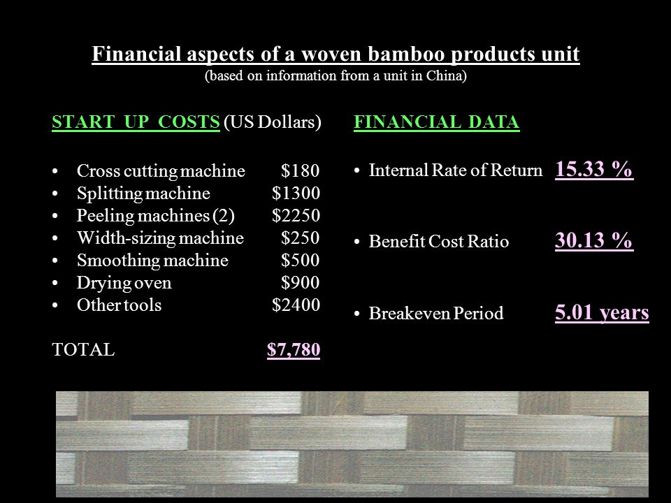 Financial aspects of a woven bamboo products unit (based on information from a unit in China) START UP COSTS (US Dollars) Cross cutting machine $180 Splitting machine $1300 Peeling machines (2) $2250 Width-sizing machine $250 Smoothing machine $500 Drying oven $900 Other tools $2400 TOTAL $7,780 FINANCIAL DATA Internal Rate of Return 15.33 % Benefit Cost Ratio 30.13 % Breakeven Period 5.01 years