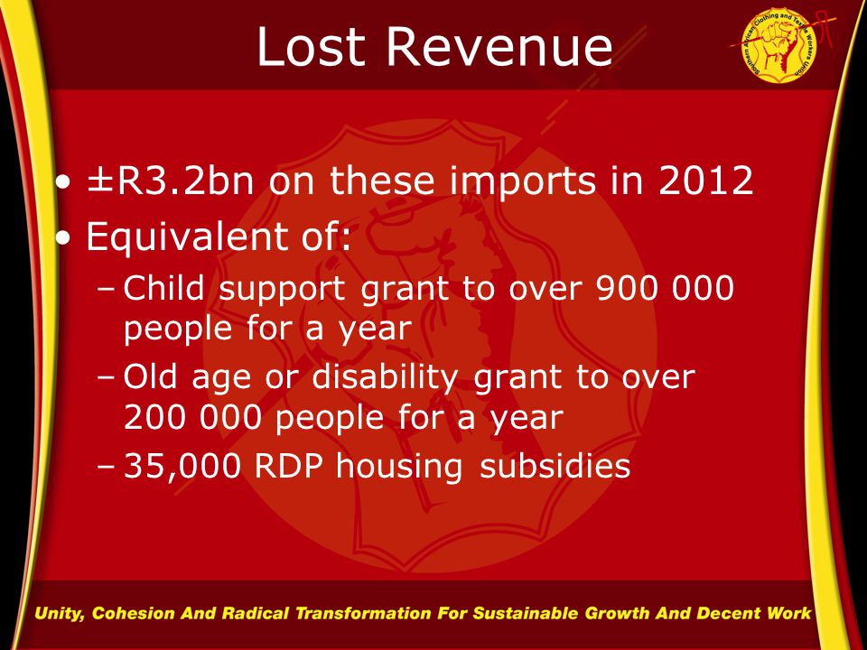 Lost Revenue ±R3.2bn on these imports in 2012 Equivalent of: –Child support grant to over 900 000 people for a year –Old age or disability grant to over 200 000 people for a year –35,000 RDP housing subsidies