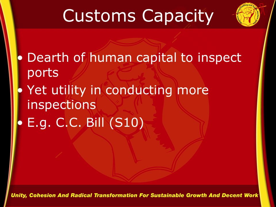Customs Capacity Dearth of human capital to inspect ports Yet utility in conducting more inspections E.g.
