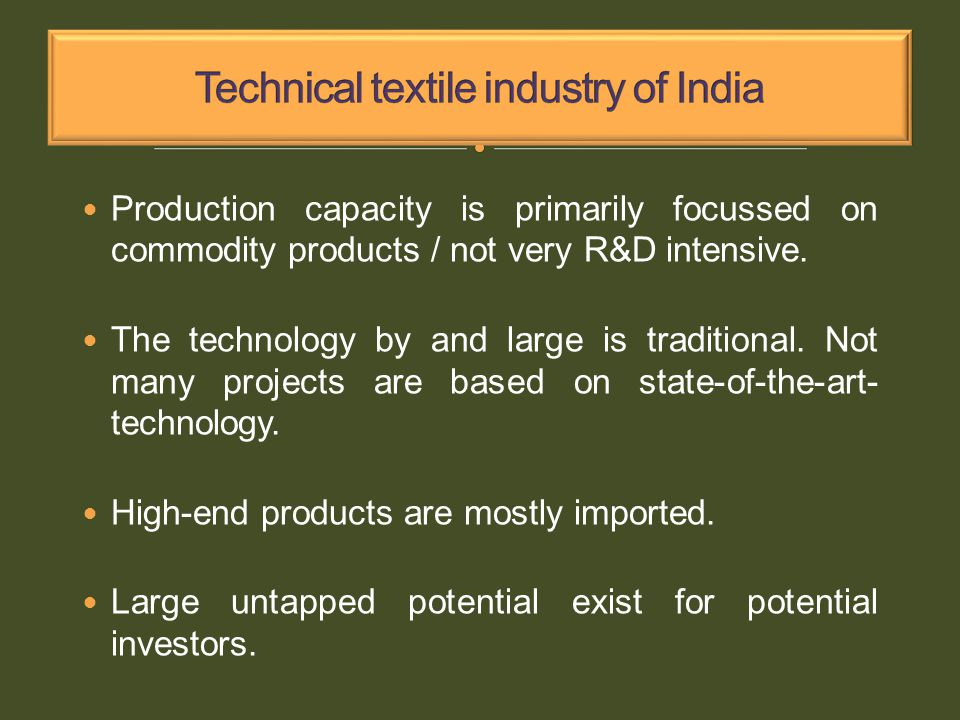 Production capacity is primarily focussed on commodity products / not very R&D intensive.