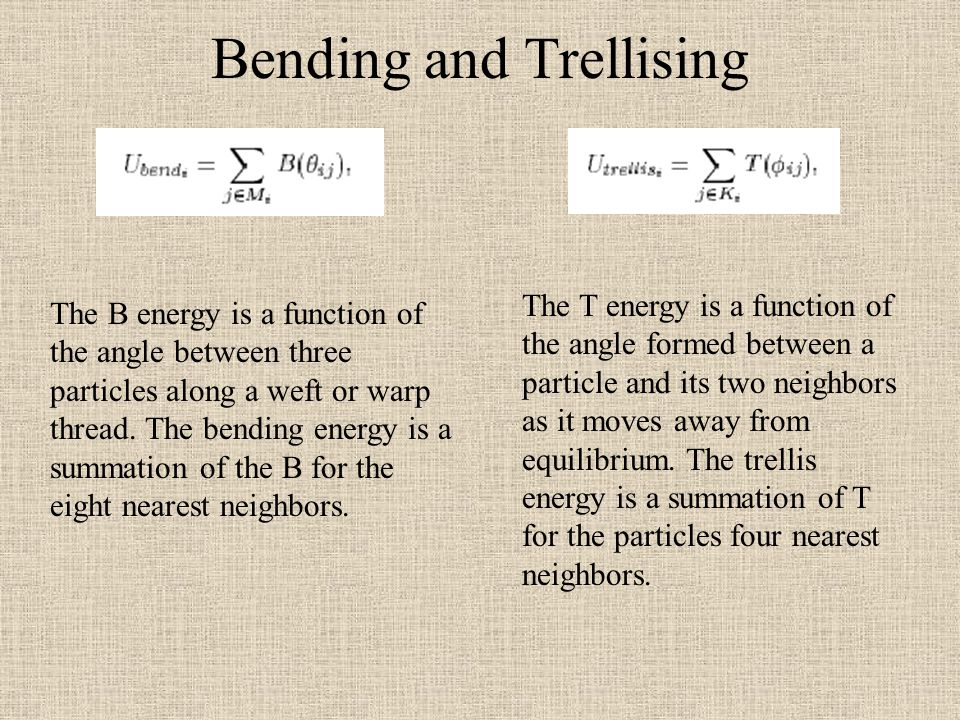 Bending and Trellising The B energy is a function of the angle between three particles along a weft or warp thread. The bending energy is a summation