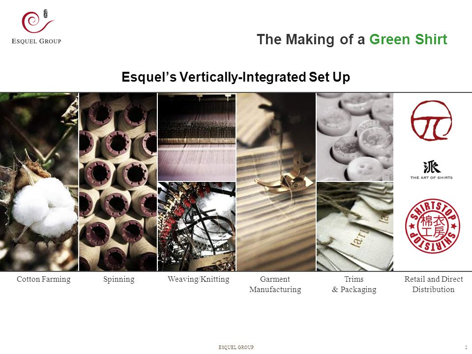 3ESQUEL GROUP 3 Sustainability is at the Heart of Our Corporate Culture The Making of a Green Shirt