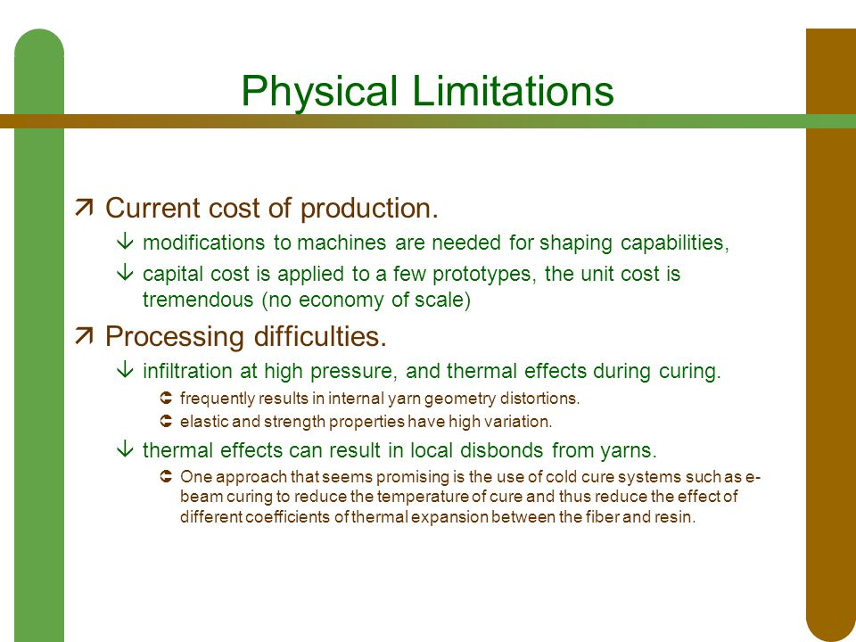 Physical Limitations  Current cost of production.