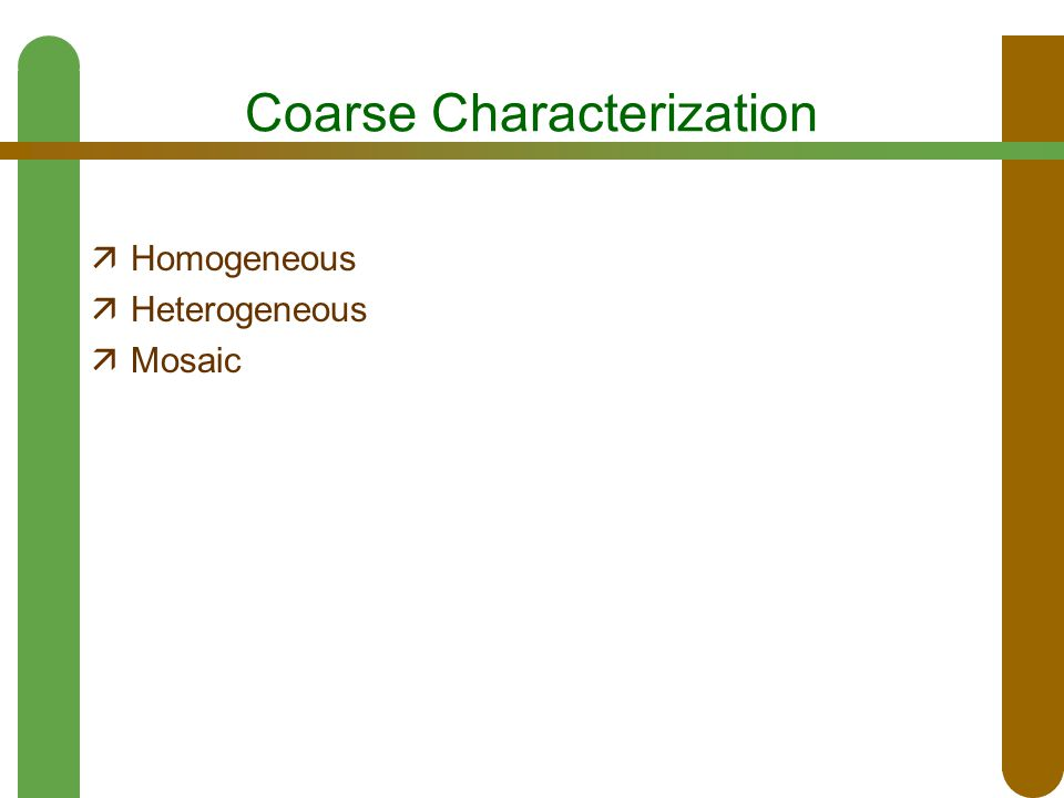 Coarse Characterization  Homogeneous  Heterogeneous  Mosaic