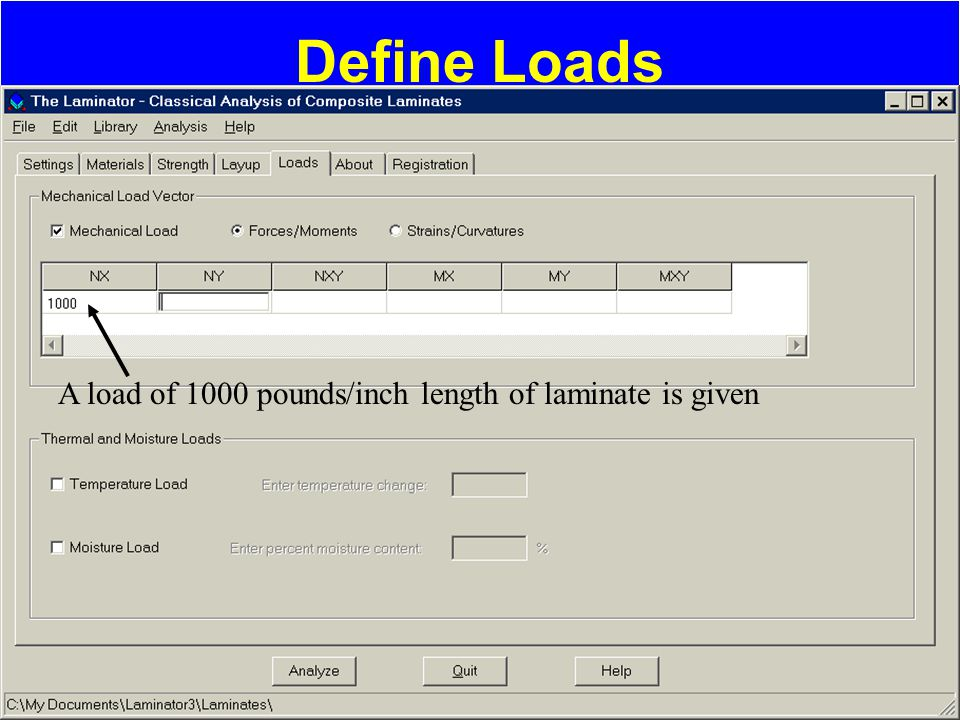 Define Loads A load of 1000 pounds/inch length of laminate is given