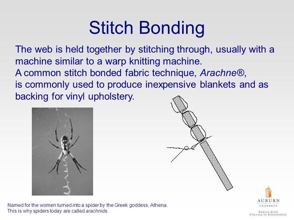 Stitch Bonding The web is held together by stitching through, usually with a machine similar to a warp knitting machine.