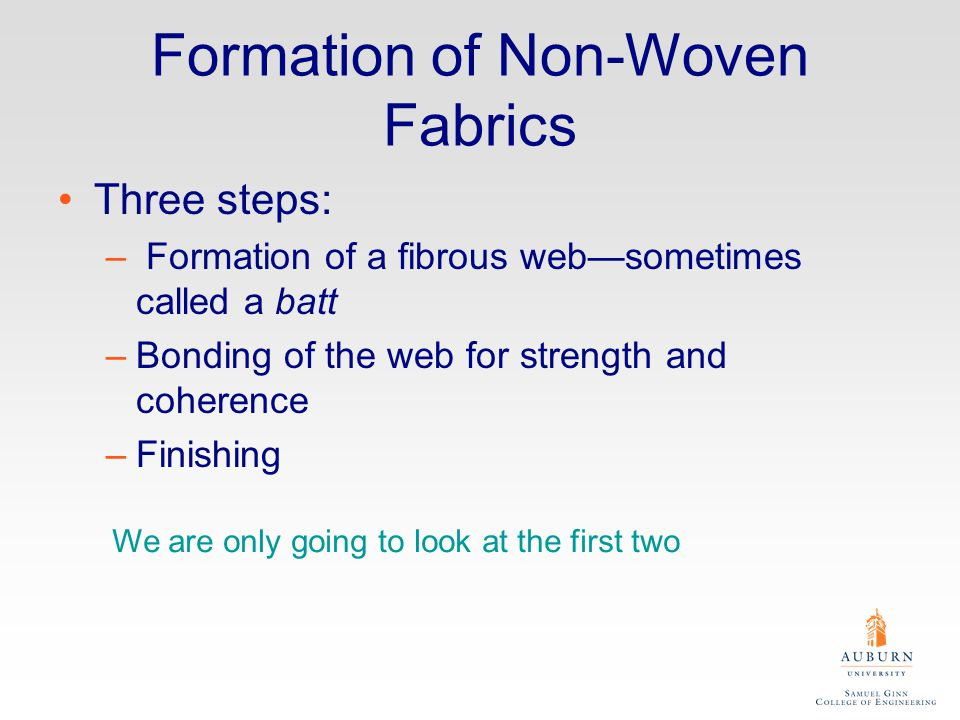 Web Formation I Card –Back when we discussed the formation of spun or staple yarns, we described the first step as carding, a process that parallels the fibers, producing a fibrous web in which all of the fibers are (more or less) straight and heading in the same direction.
