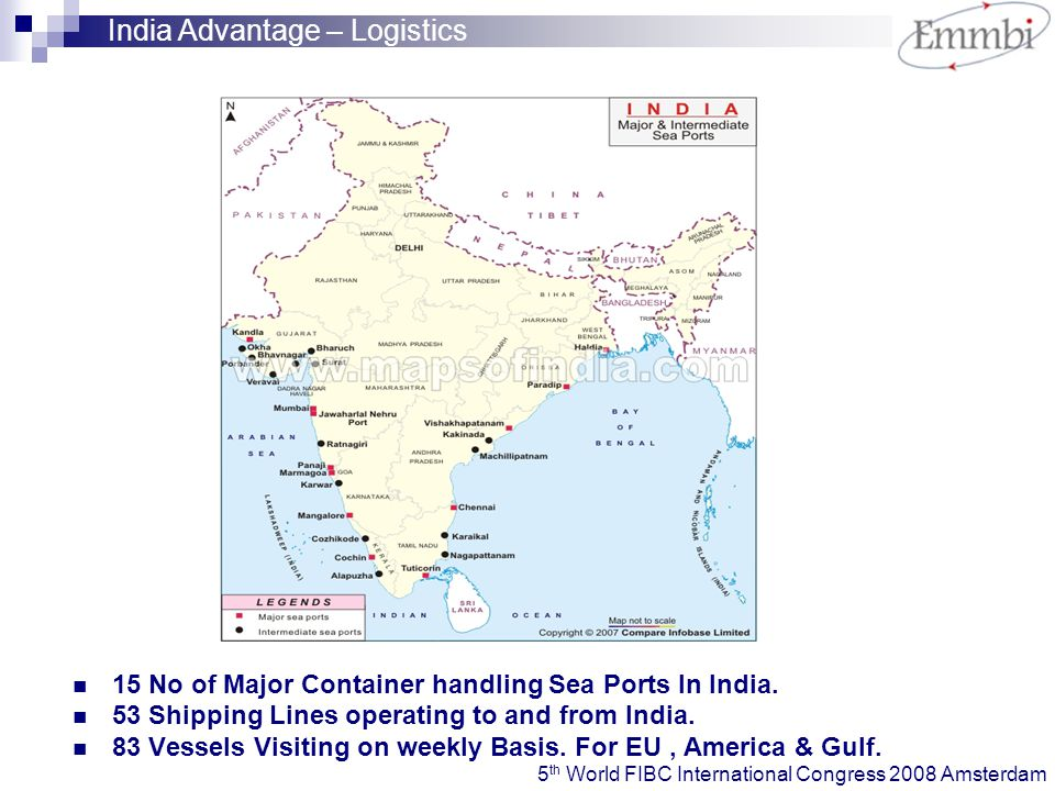 15 No of Major Container handling Sea Ports In India.