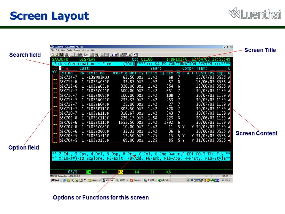 Screen Layout Screen Title Search field Options or Functions for this screen Screen Content Option field