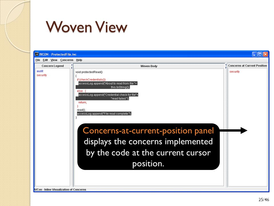 Woven View Concerns-at-current-position panel displays the concerns implemented by the code at the current cursor position.