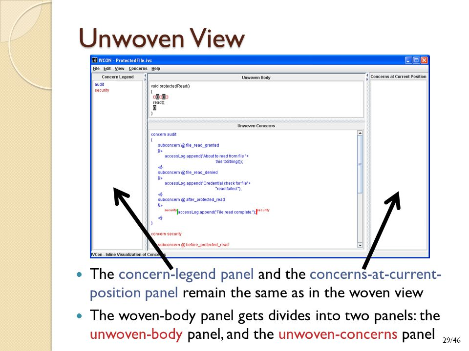 Unwoven View The concern-legend panel and the concerns-at-current- position panel remain the same as in the woven view The woven-body panel gets divides into two panels: the unwoven-body panel, and the unwoven-concerns panel 29/46