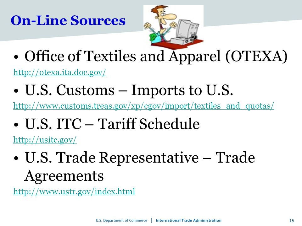 15 On-Line Sources Office of Textiles and Apparel (OTEXA) http://otexa.ita.doc.gov/ U.S.