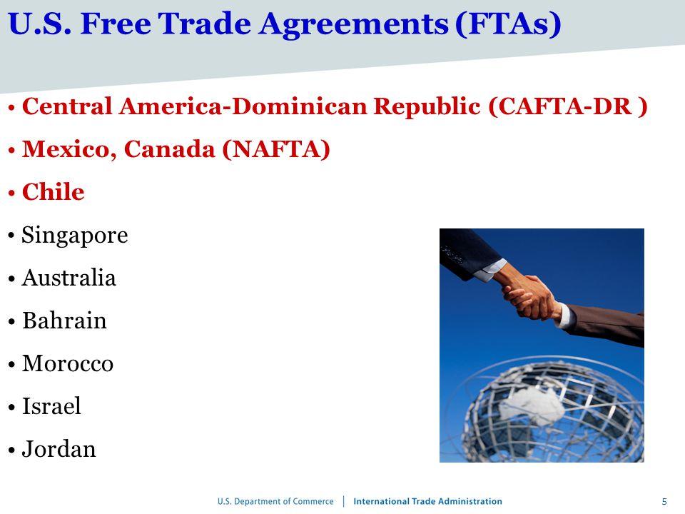 5 Central America-Dominican Republic (CAFTA-DR ) Mexico, Canada (NAFTA) Chile Singapore Australia Bahrain Morocco Israel Jordan U.S.
